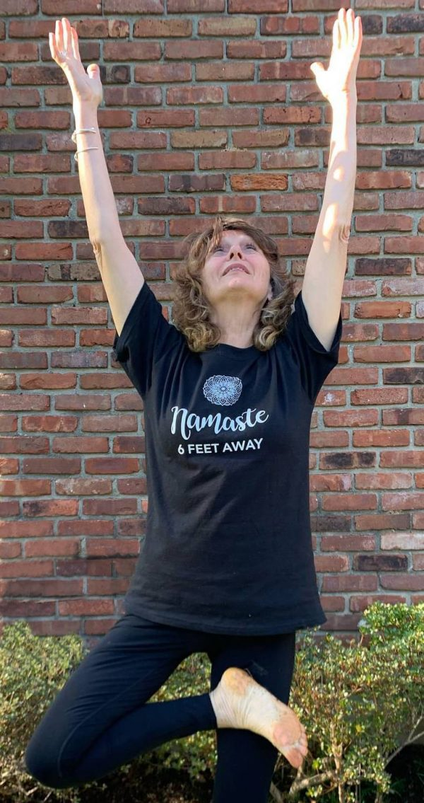 namaste 6 feet away t-shirt, yoga apparel, yoga t-shirt, namaste